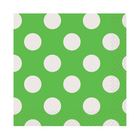 Green and White Dots Beverage Napkins (16)