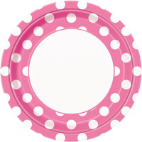 Pink and White Dots- Dinner Plates (8)