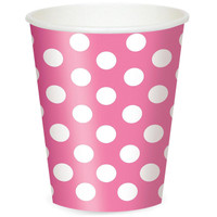 Pink and White Dots- 12 oz. Cups (6)