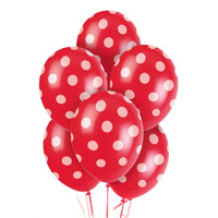 Red and White Dots Latex Balloons