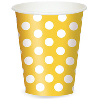 Yellow and White Dots- 12 oz. Cups (6)