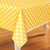 Yellow and White Dots Plastic Tablecover