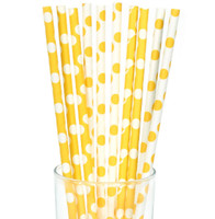 Yellow and White Dot Straws (10)