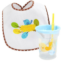 Sweet Tweet Bird Blue Bib and Tumbler Gift Set