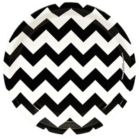 Chevron Black Dinner Plates (8)