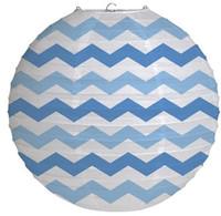 """12"""" Round Paper Chevron Lantern - True Blue"""