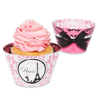 Paris Damask - Reversible Cupcake Wrappers
