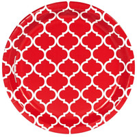Classic Red Quatrefoil Dinner Plates (8)