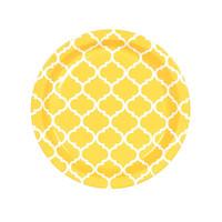 School Bus Yellow Quatrefoil Dessert Plates (8)