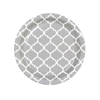 Medium Gray Quatrefoil Dessert Plates (8)