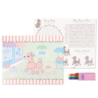 Pink Poodle in Paris Activity Placemat Kit for 4
