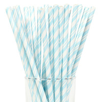 Pastel Blue and White Striped Paper Straws (24)