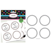 Scalloped Paper Labels- Silver