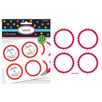 Scalloped Paper Labels- Apple Red (20)
