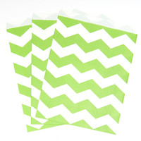 Fresh Lime Chevron Paper Treat Bags (10)