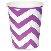 Chevron Stripe Paper Cups - Pretty Purple (6)