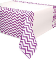 Pretty Purple Chevron Plastic Tablecover