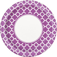 Pretty Purple Quatrefoil Dinner Plates (8)