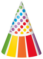 Rainbow Birthday Party Cone Hats (8)