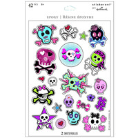 Girl Skull and Crossbones Sparkle Sticker Sheets