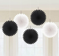 Black & White Mini Hanging Fan Decorations