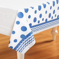 Chevron/Dots Blue Plastic Tablecover