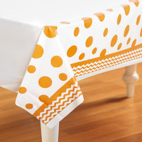 Chevron/Dots Sunkissed Orange Plastic Tablecover