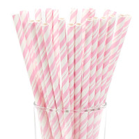 Classic Pink and White Striped Paper Straws