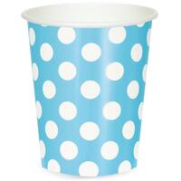 Pastel Blue and White Dot 12 oz. Paper Cups