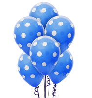 Cry Blue and White Dots Latex Balloons