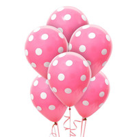 Hot Rose and White Dots Latex Balloons