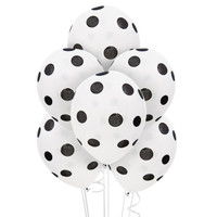 White and Black Dots Latex Balloons