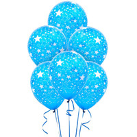 Blue and White Stars Latex Balloons