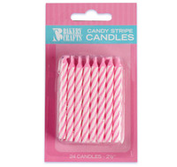 Pink Stripe Birthday Candles (24)