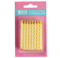Yellow Stripe Birthday Candles (24)