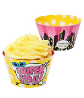Superhero Girl Reversible Cupcake Wrappers