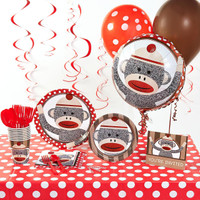Sock Monkey Red Deluxe Party Pack