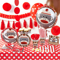 Sock Monkey Red Super Deluxe Party Pack