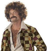 Disco Dirt Bag Wig & Moustache Adult