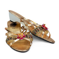 Gold Jewel Child Slippers