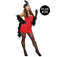 Red Flapper Plus Size Adult Costume