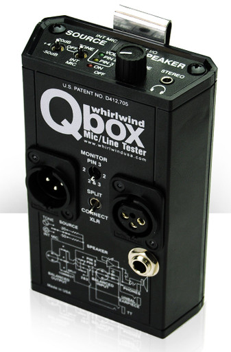 """Whirlwind Qbox - An all-in-one audio line tester ideal for applications such as live sound, maintenance, installation work - anywhere audio runs down a cable. The Qbox includes a microphone, a speaker, a test tone generator, outputs for standard headphones, a 1/4"""" jack for line-in or a 2k Ohm (telephone) earpiece out. A handy clip attaches the Qbox to your belt or equipment rack."""