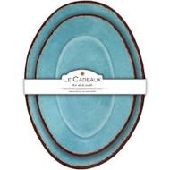 """Le Cadeaux Antiqua Turqoise Nesting Platters S/2 Oval 16""""L 12.5""""L"""