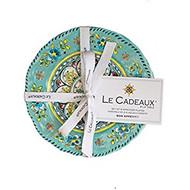 """Le Cadeaux Madrid Turqoise Appetizer Plates,6.5"""" Set/4"""