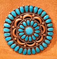 Zuni Turquoise Cluster Pin Pendant Alice Quam