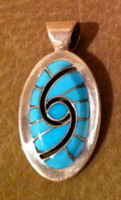 ZUNI TURQUOISE & SILVER HUMMINGBIRD DESIGN PENDANT Dickey Quandelacy SOLD