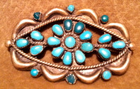 Zuni Turquoise Needlepoint Oval Pawn Pin