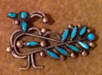 Zuni Turquoise Needlepoint Bird Pin Pawn ZTNBPP11