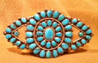 Zuni Turquoise Morenci Silver Bow Tie Pawn Pin