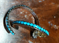 ZUNI TURQUOISE MULTI-INLAY LARGE HOOP EARRINGS SOLD